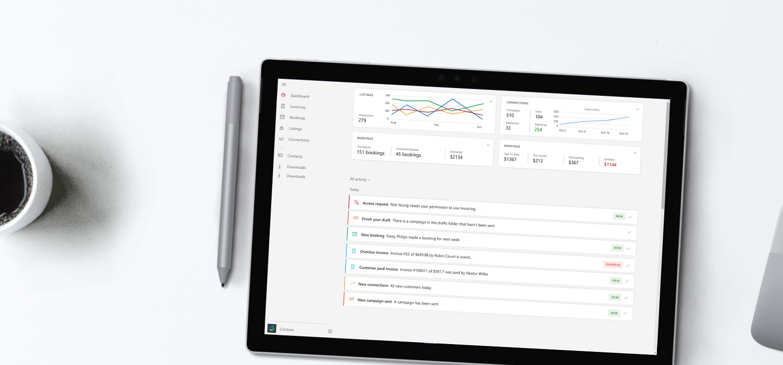 Prenosni računalnik, v katerem je prikazano središče storitve Office 365 Business