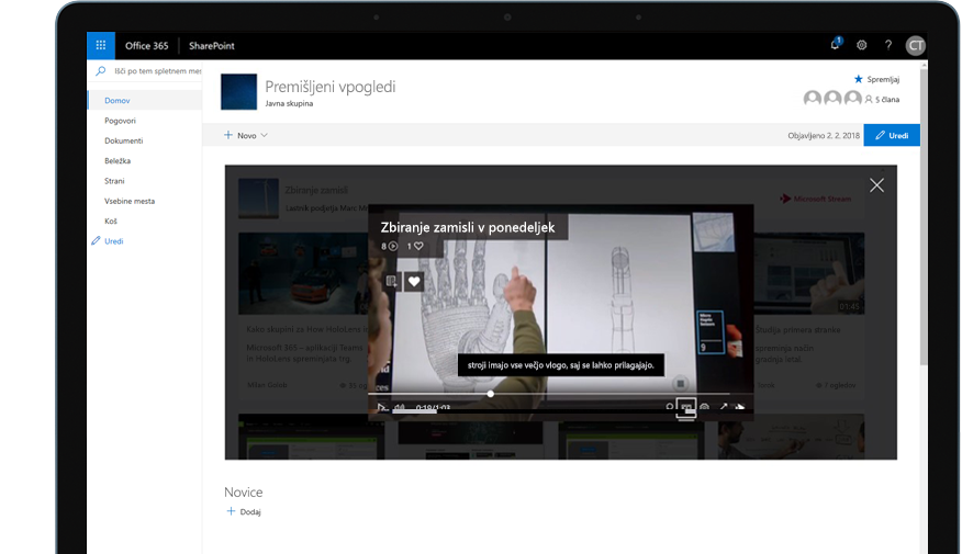 Naprava, v kateri se izvaja SharePoint v storitvi Office 365 in videoposnetek za izobraževanje
