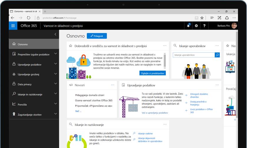 tablični računalnik, ki prikazuje domačo stran središča za varnost in skladnost s predpisi storitve Office 365