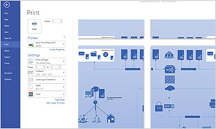 Posnetek zaslona strani za tiskanje v programu Visio Standard 2013, ki omogoča predogled diagramov.