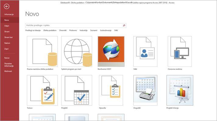Zaslon nove zbirke podatkov v Microsoft Accessu