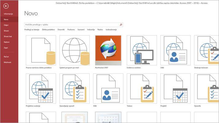 nov zaslon zbirke podatkov v Microsoft Accessu