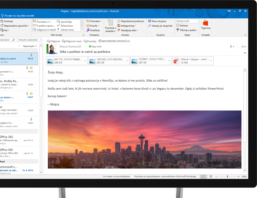 E-poštno sporočilo v storitvi Office 365, ki prikazuje vdelano sliko nebotičnika v mestu Seattle.