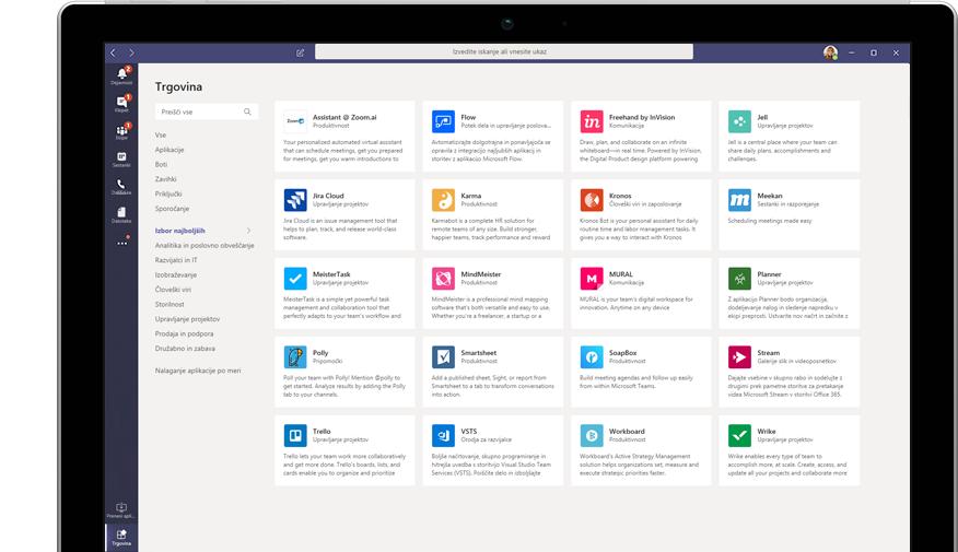Trgovina Microsoft App Store, prikazana v storitvi Teams