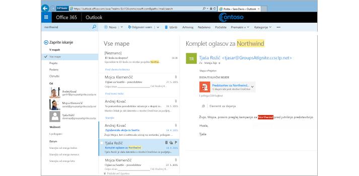 Posnetek nabiralnika uporabnika v programu Outlook Web App od blizu.