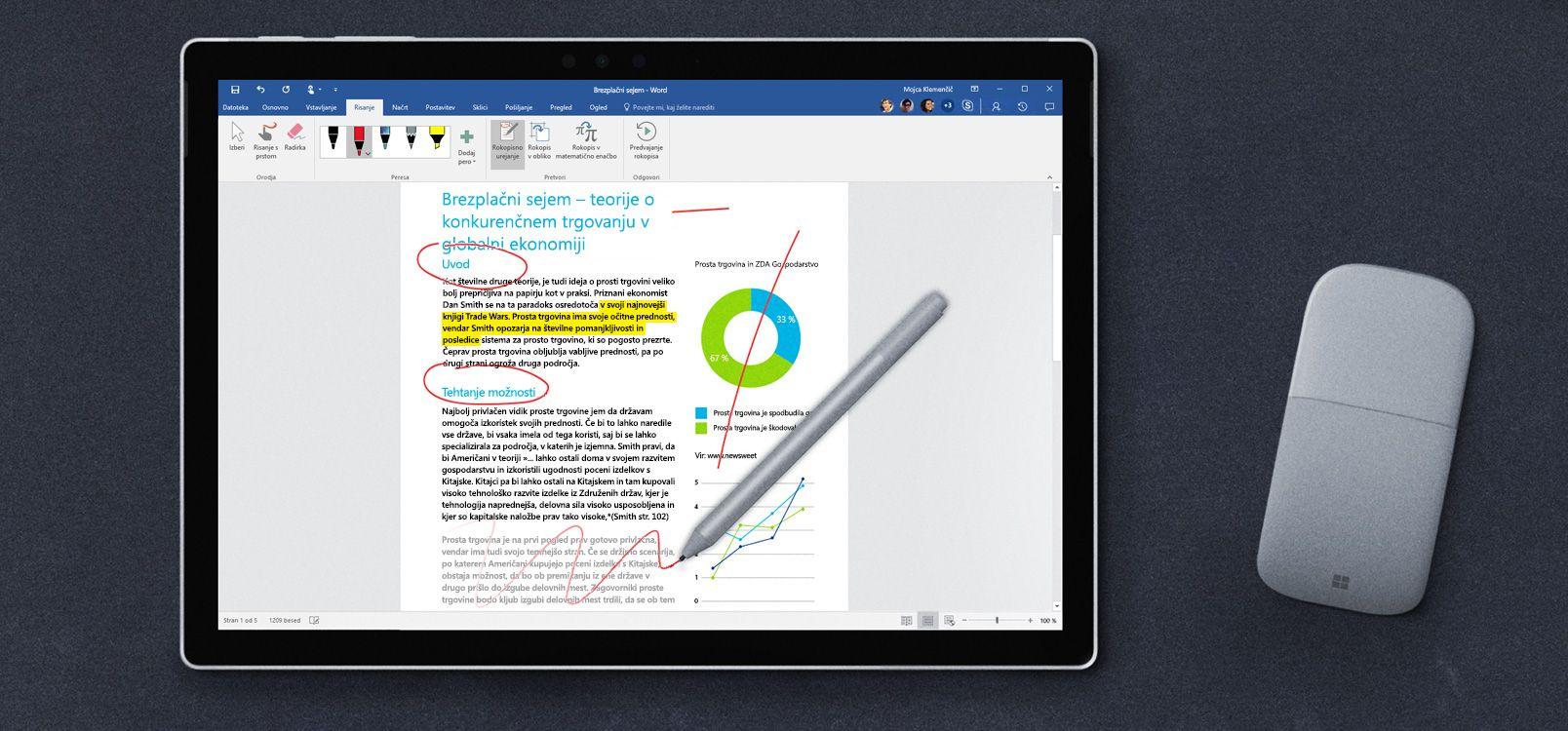 Zaslon tabličnega računalnika, ki prikazuje rokopisno urejanje