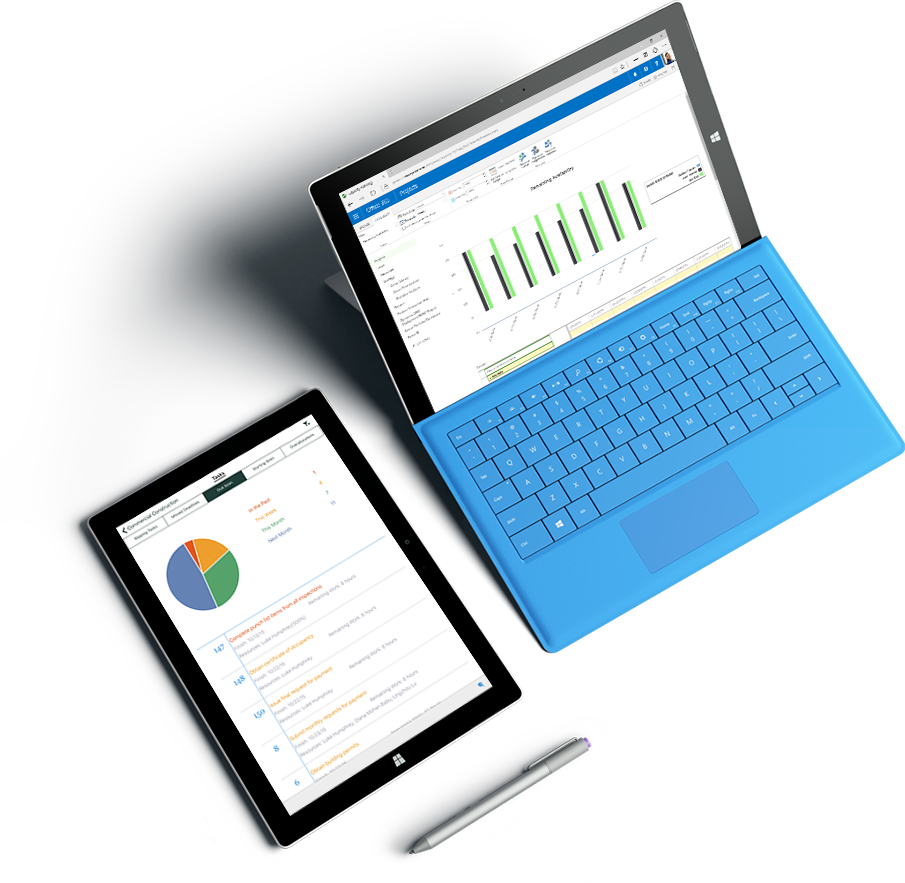 Dva tablična računalnika Microsoft Surface z različnimi grafikoni in grafi, ki so prikazani na zaslonih