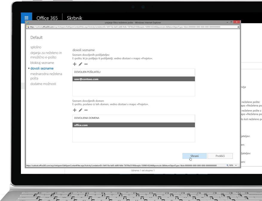 Pravilnik o filtru Exchange Online Protection storitve Office 365 v prenosniku s sistemom Windows