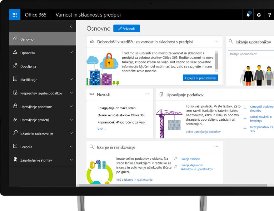 Središče za varnost in skladnost s predpisi storitve Office 365, prikazano na zaslonu namiznega računalnika s sistemom Windows.