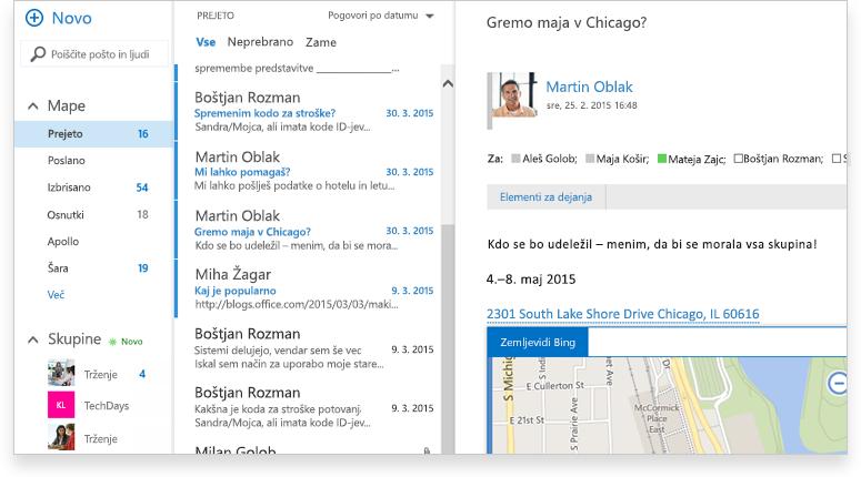 Posnetek zaslona mape »Prejeto« v strežniku Exchange 2016