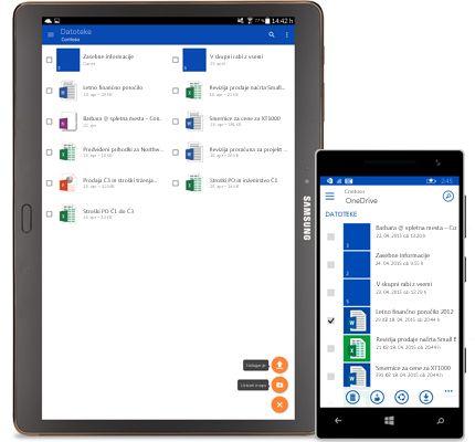 Tablični računalnik in pametni telefon s prikazanim seznam dokumentov v skupni rabi.