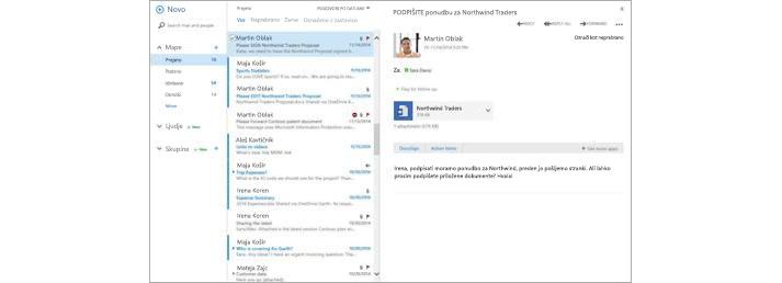 E-poštni nabiralnik v prenosni napravi z novim sporočilom, ki se prikaže v podoknu za predogled