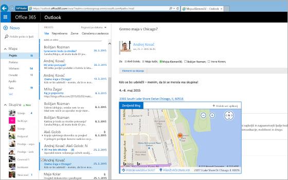 Povečan posnetek nabiralnika uporabnika v Outlooku v spletu, ki ga omogoča Exchange.