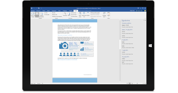 Tablični računalnik, ki prikazuje zgodovino različice dokumenta v storitvi Office 365.