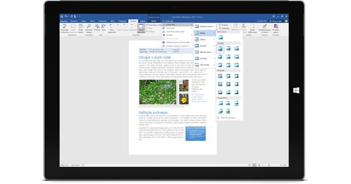 Naprava Surface, na kateri je prikazana funkcija »Pokaži mi ...« v Wordovem dokumentu.