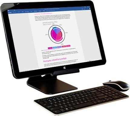 Zaslon računalnika s prikazanimi možnostmi za skupno rabo v Microsoft Wordu.
