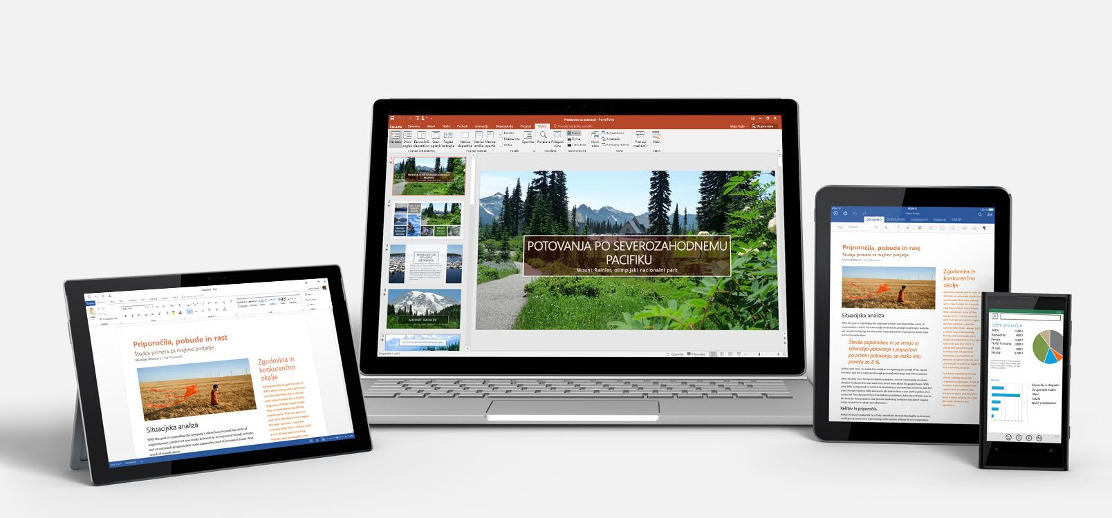 Tablični računalnik s sistemom Windows, prenosnik, iPad in pametni telefon, v katerem je prikazana storitev Office 365 v uporabi.