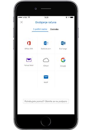 Pametni telefon, na katerem je prikazan zaslon za dodajanje računa v Outlookovim mobilni aplikaciji