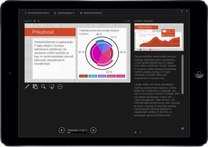 Tablični računalnik, na katerem je prikazan PowerPointov diapozitiv v načinu predstavitve z oznakami.