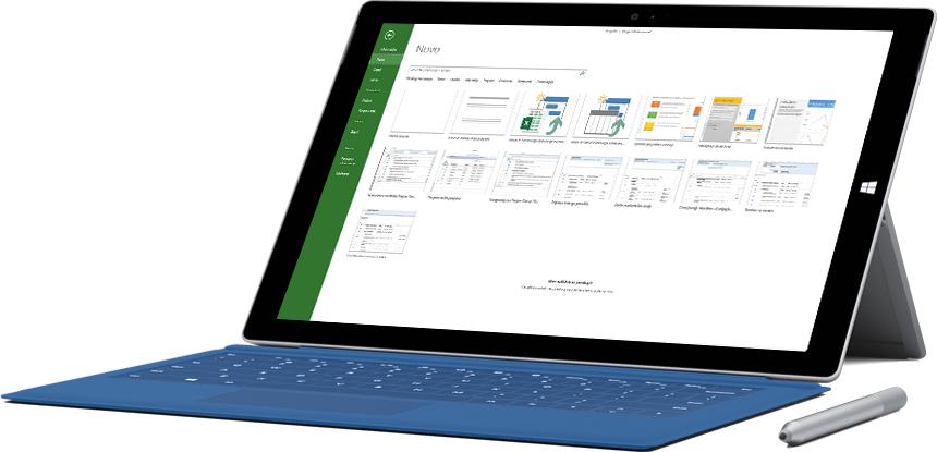 V tabličnem računalniku Microsoft Surface je prikazano okno »Novi projekt« v storitvi Project Online Professional.