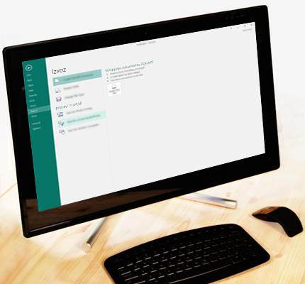 Računalnik s posnetkom zaslona zavihka »Backstage « v programu Publisher, ki kaže funkcijo za izvoz.