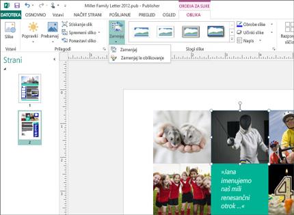 Posnetek zaslona s publikacijo programa Publisher in orodji za slike, prikazanimi na traku.