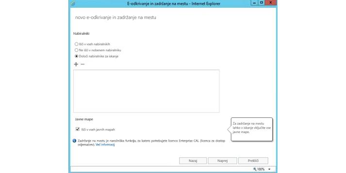 Okno Internet Explorerja, ki prikazuje e-odkrivanje na mestu uporabe in funkcijo zadržanja
