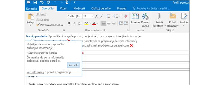 Posnetek namiga pravilnika v e-pošti od blizu uporabnikom prepreči pošiljanje osebnih informacij.