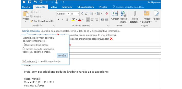 Posnetek e-poštnega sporočila z namigom pravilnika, ki uporabniku preprečuje pošiljanje zaupnih podatkov, od blizu.