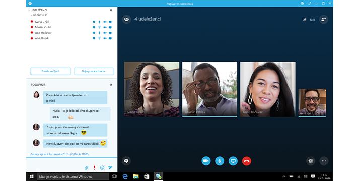 Posnetek začetnega zaslona Skypa za podjetja s sličicami stikov in možnostmi za vzpostavljanje povezave.