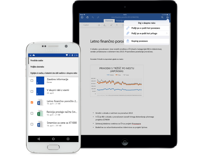 Tablični računalnik in pametni telefon s prikazanim menijem skupne rabe v storitvi OneDrive za podjetja.