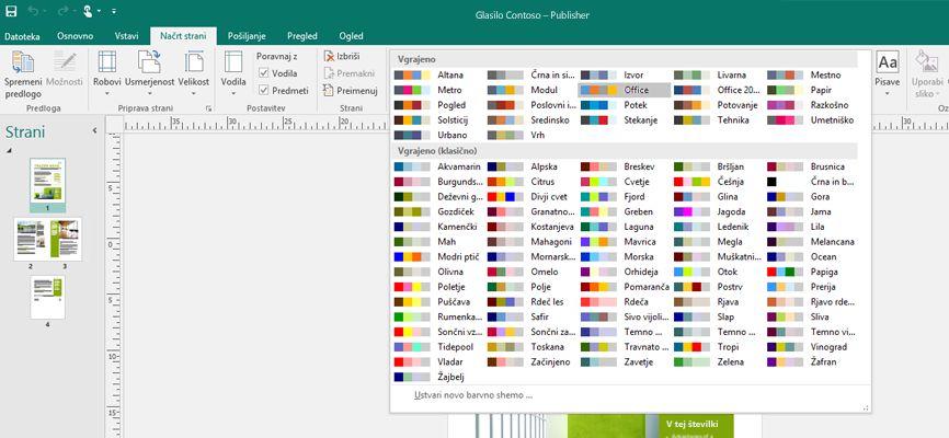 Publisherjeve aplikacije z orodji za slike, ki so prikazana na traku.