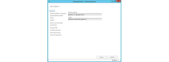 Okno s splošnimi nastavitvami strežnika Exchange Server v Internet Explorerju