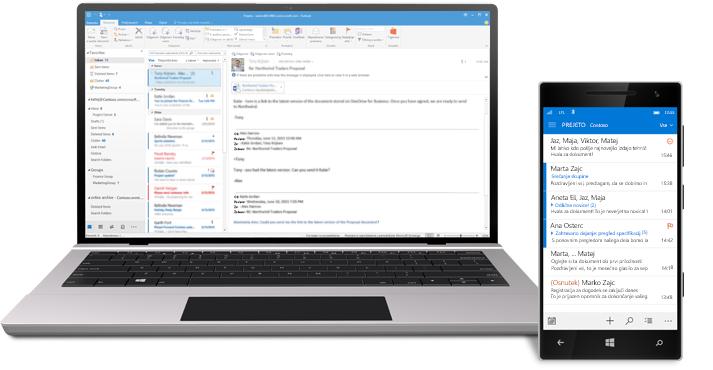 Tablični računalnik in pametni telefon, ki prikazujeta e-poštni nabiralnik storitve Office 365.