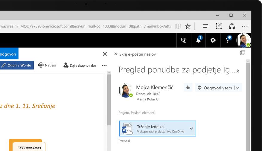 Exchange 2016 v tabličnem računalniku s sistemom Windows