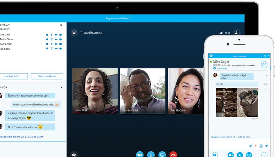 Tablični računalnik Surface, v katerem je na zaslonu prikazano spletno srečanje v Skypu za podjetja