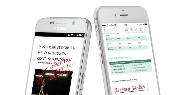 dva pametna telefona prikazujeta dokumente in ročno vnesene zapiske