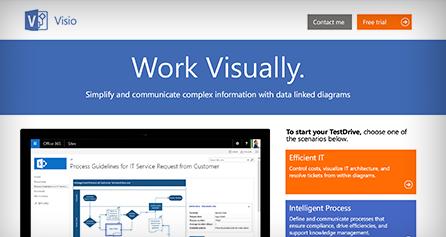 Na računalniškem zaslonu je prikazana predstavitev Visio TestDrive – oglejte si predstavitev Visio TestDrive zdaj