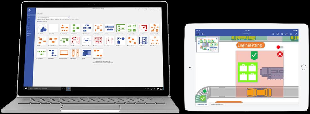Diagrami v storitvi Visio Online (paket 2), prikazani v prenosniku in izdelku iPad.