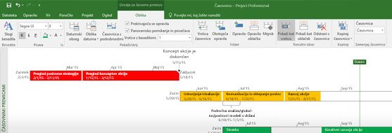 Posnetek zaslona datoteke s projektom, odprte v programu Project Professional