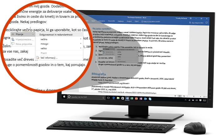 Monitor PC-ja, na katerem je prikazan Wordov dokument z bližnjim posnetkom funkcije Urejevalnik, ki predlaga zamenjavo besede v stavku