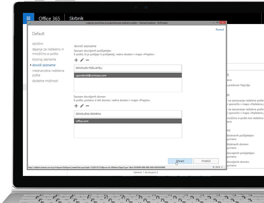 Tablični računalnik, v katerem je prikazano urejanje pravilnika o neželeni pošti v konzoli za Office 365 Admin z dovoljenim pošiljateljem in domeno.