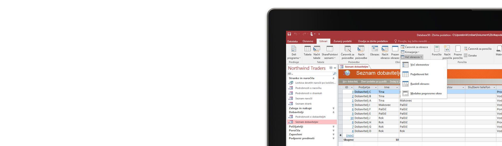 V kotu računalniškega zaslona je prikazan seznam dobaviteljev v Microsoft Accessovi zbirki podatkov.