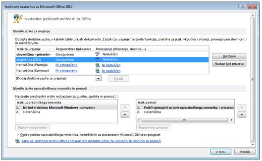Z jezikovnimi paketi 2010 zlahka izberete jezik, v katerem želite urejati dokumente