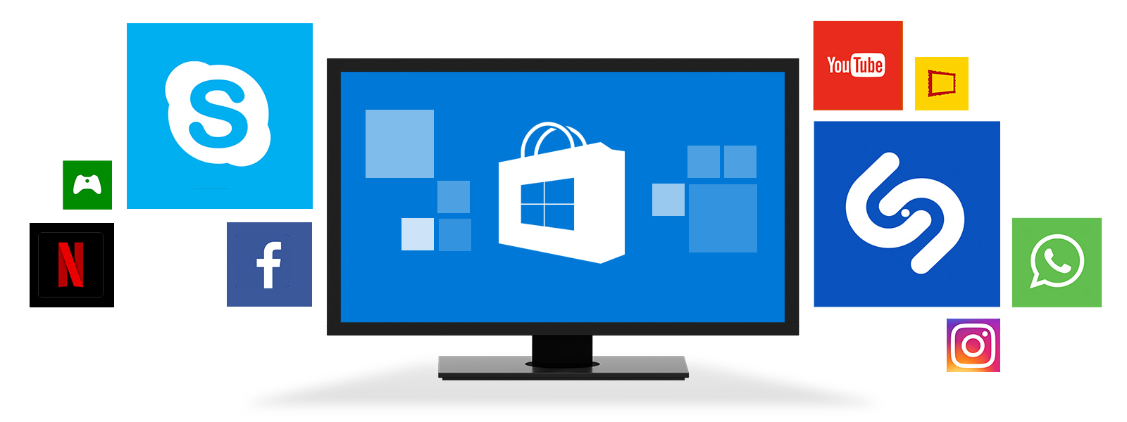 Naprava s sistemom Windows, okrog katere lebdi več ploščic programov