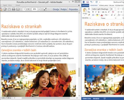 Prenosni računalnik z vzporedno prikazanima dvema postavitvama enega dokumenta programa Word.