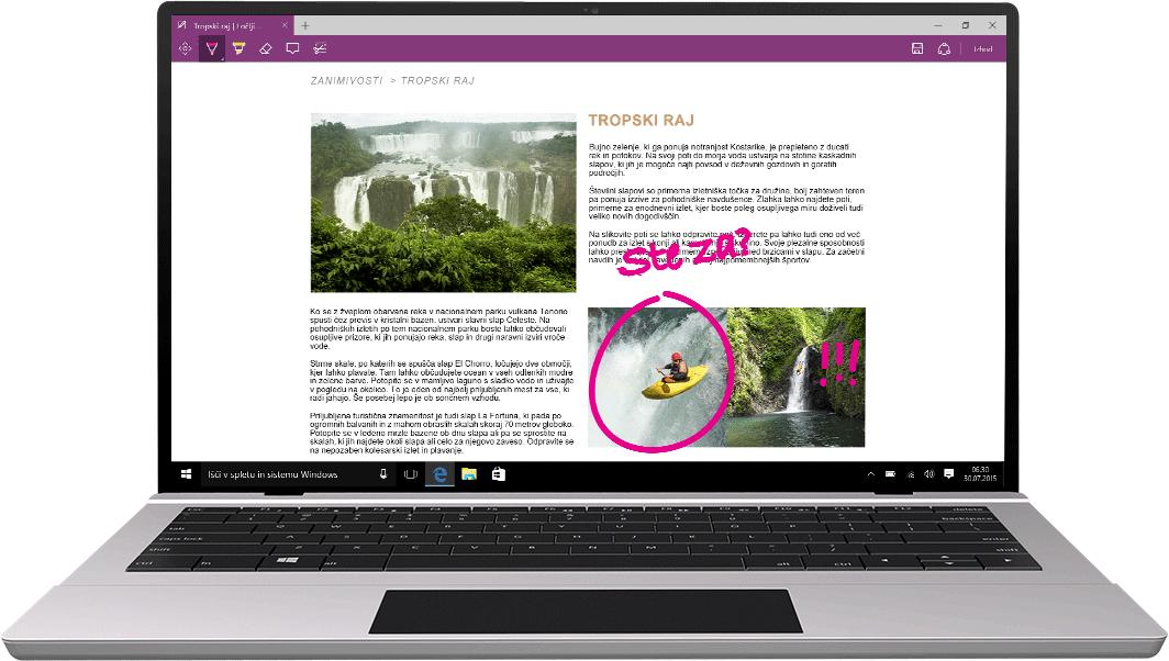 Prenosni računalnik z brskalnikom Microsoft Edge
