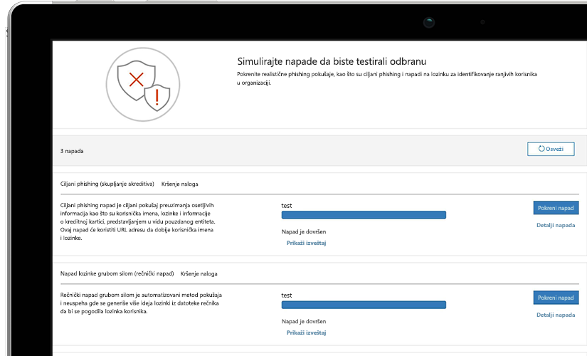 Fotografija stranice sa simulacijom napada na laptop računaru u krupnom planu koja prikazuje informacije tekućeg testa