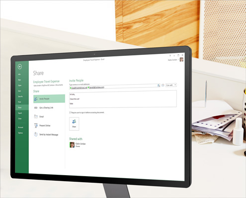 Monitor računara na kojem su prikazane opcije deljenja za Excel unakrsne tabele.