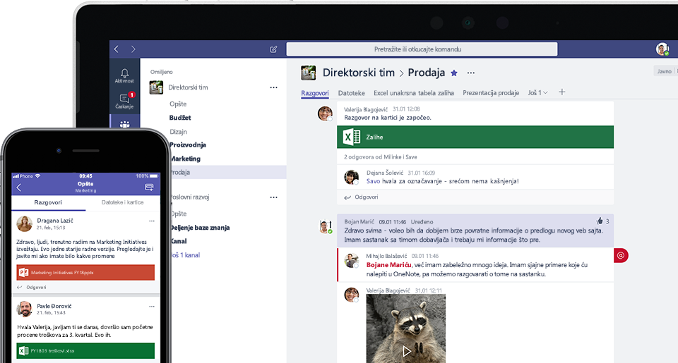 Slika ekrana usluge Teams na mobilnom telefonu i laptopu